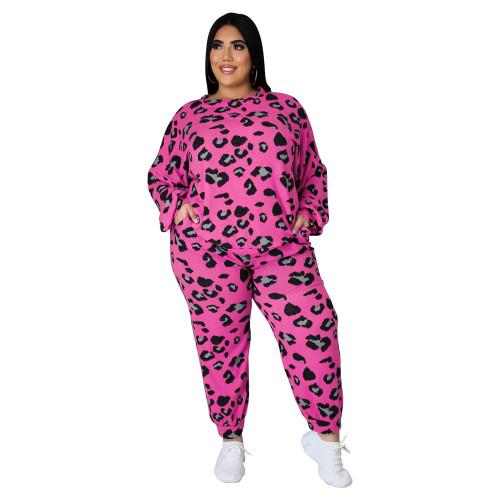 Rosy Leopard Print Plus Size 2pcs Set TQK710227-6