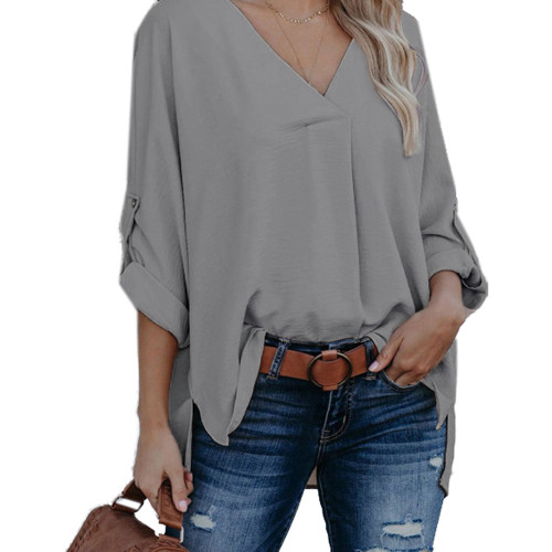 Gray V Neck Loose Style Blouse Top TQK220059-11