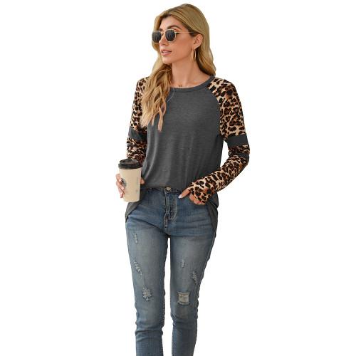 Gray Splice Leopard Long Sleeve Tops TQK210592-11