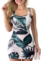 White Wide Strap Cut-out Tropical Print Mini Dress LC22768-1
