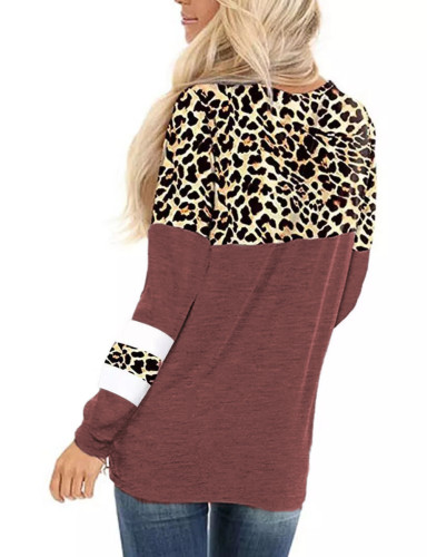 Wine Red Splice Leopard Striped Front Twist Tops TQK210591-103