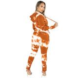 Orange Tie Dye Print Hoodies with Pant Set TQK710224-14