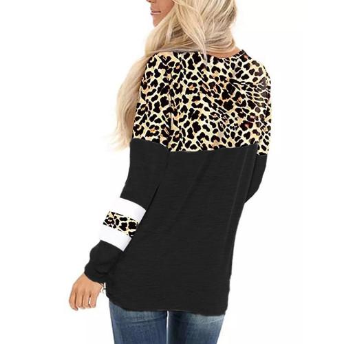 Black Splice Leopard Striped Front Twist Tops TQK210591-2