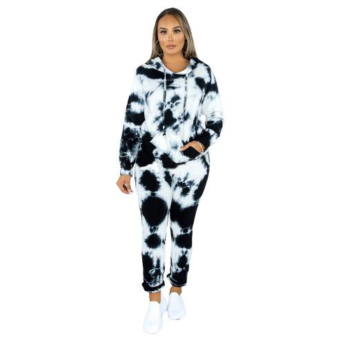 Black Tie Dye Print Hoodies with Pant Set TQK710224-2