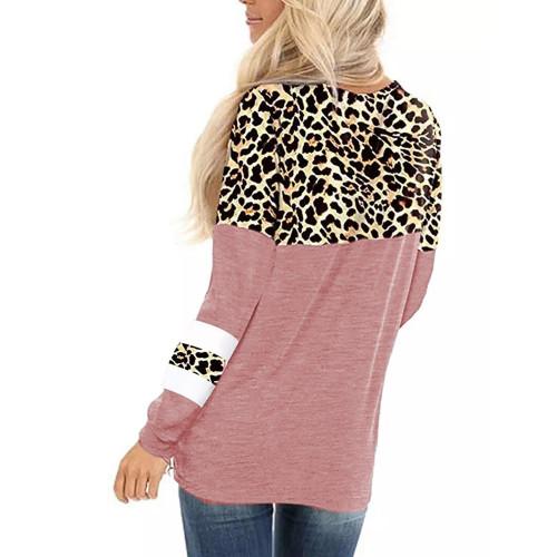 Pink Splice Leopard Striped Front Twist Tops TQK210591-10