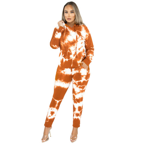 Orange Tie Dye Print Hoodies with Pant Set TQK710224-14