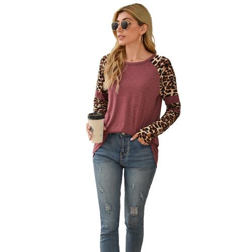 Wine Red Splice Leopard Long Sleeve Tops TQK210592-103