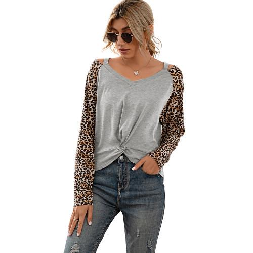 Gray Splice Leopard Cold Shoulder Tops TQK210593-11