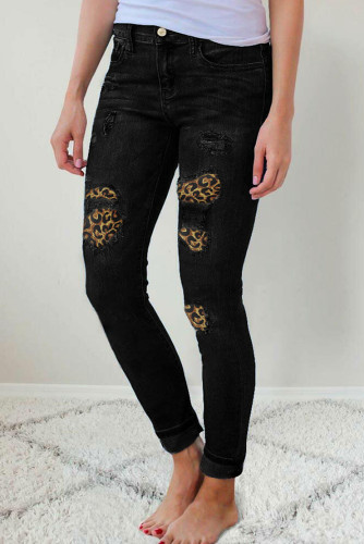 Ripped Leopard Patch Pocket High Waist Skinny Jeans LC78745-2