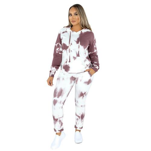 Coffee Tie Dye Print Hoodies with Pant Set TQK710224-15