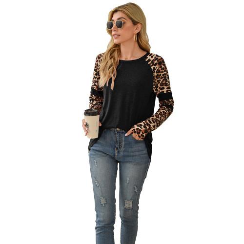 Black Splice Leopard Long Sleeve Tops TQK210592-2