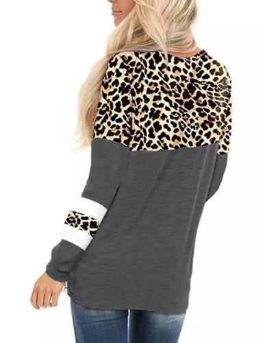 Gray Splice Leopard Striped Front Twist Tops TQK210591-11