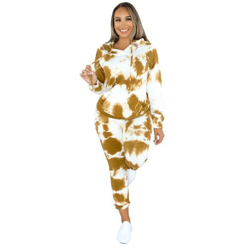 Yellow Tie Dye Print Hoodies with Pant Set TQK710224-7