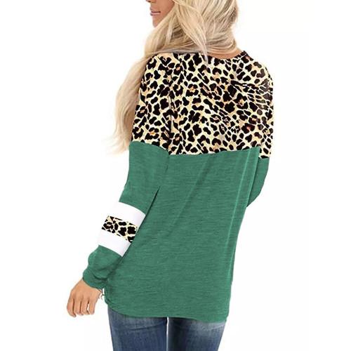 Green Splice Leopard Striped Front Twist Tops TQK210591-9
