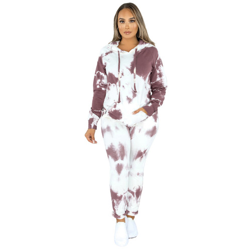 Coffee Tie Dye Print Hoodies with Pant Set TQK710224-15