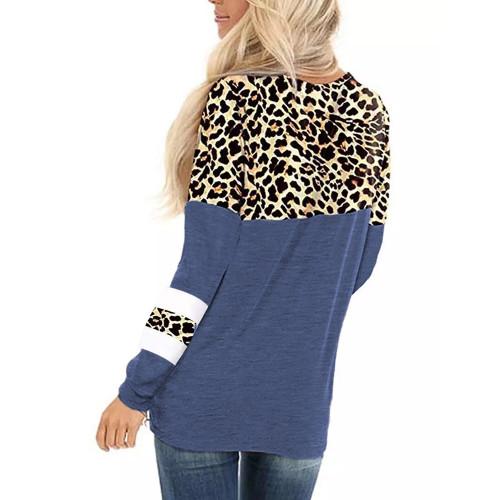 Blue Splice Leopard Striped Front Twist Tops TQK210591-5