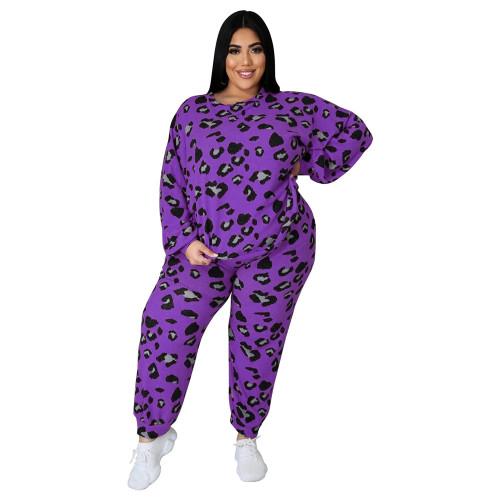 Purple Leopard Print Plus Size 2pcs Set TQK710227-8