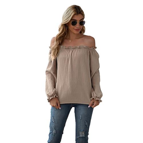 Khaki Ruffle Hem Off Shoulder Long Sleeve Top TQK210589-21