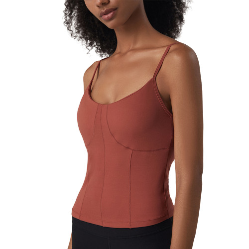 Warm Red Brown Padded Adjustable Sling Sports Tank Top TQE11097-218