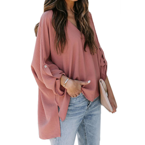 Rust Red V Neck Loose Style Blouse Top TQK220059-33