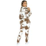 Brown Tie Dye Print Hoodies with Pant Set TQK710224-17