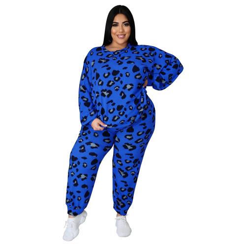 Blue Leopard Print Plus Size 2pcs Set TQK710227-5