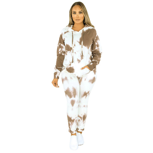 Brown Tie Dye Print Hoodies with Pant Set TQK710224-17