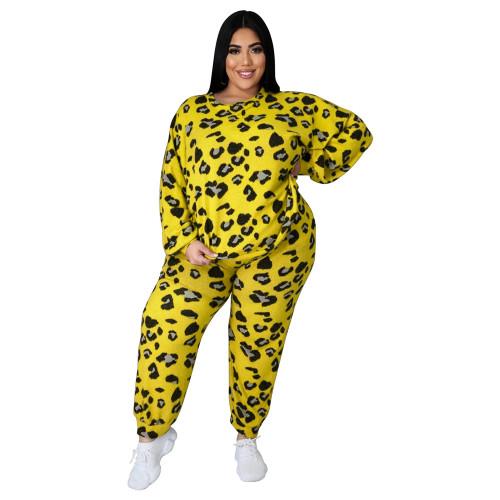 Yellow Leopard Print Plus Size 2pcs Set TQK710227-7