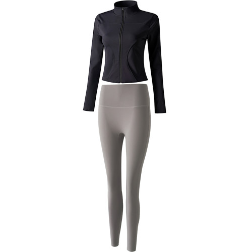 Black Long Sleeve Yoga Coat with Sea Moon Rock Pant TQE00094-2-73