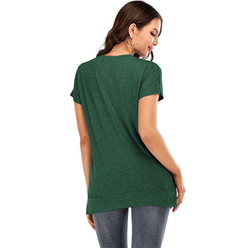 Green Drop Shoulder Side Slit Short Sleeve Tees TQK210595-9