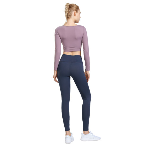 Purple 2pcs Yoga Set Long Sleeve Crop Top with Gray Blue Pant TQE00096-8-4