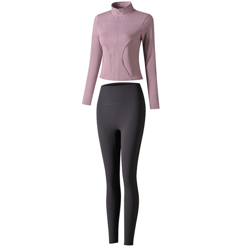 Purple Long Sleeve Yoga Coat with Dark Gray Pant TQE00094-8-26