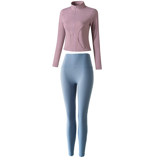 Purple Long Sleeve Yoga Coat with Blue Pant TQE00094-8-116