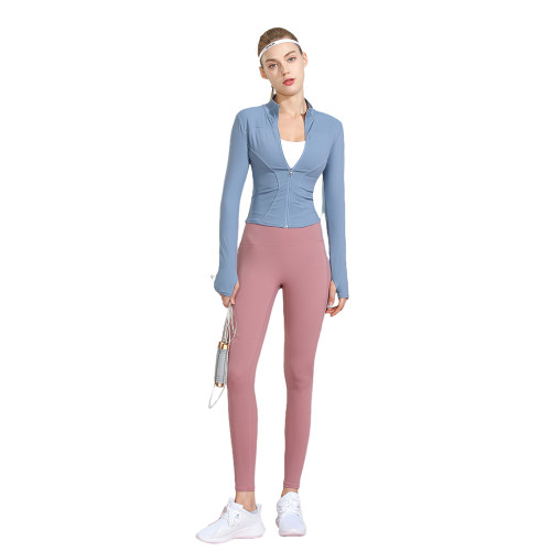 Blue Long Sleeve Yoga Coat with Pink Pant TQE00094-116-10