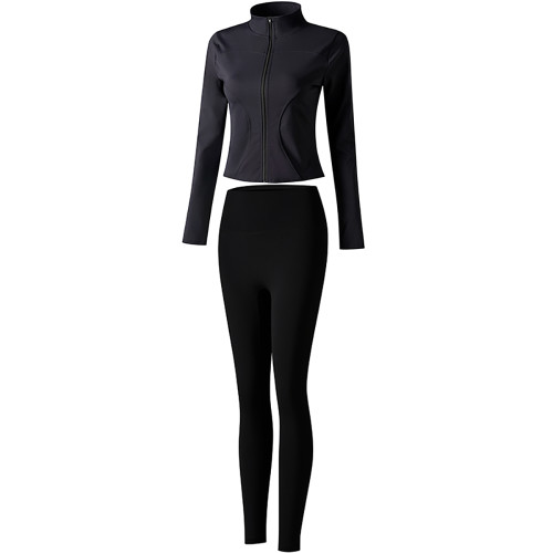Black Long Sleeve Yoga Coat with Pant TQE00094-2-2