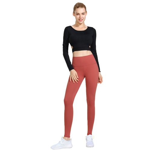 Black 2pcs Yoga Set Long Sleeve Crop Top with Flame Red Pant TQE00096-2-109