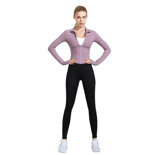 Purple Long Sleeve Yoga Coat with Black Pant TQE00094-8-2