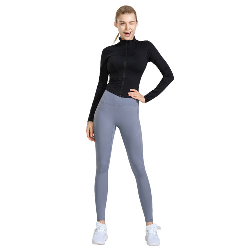 Black Long Sleeve Yoga Coat with Light Gray Pant TQE00094-2-25