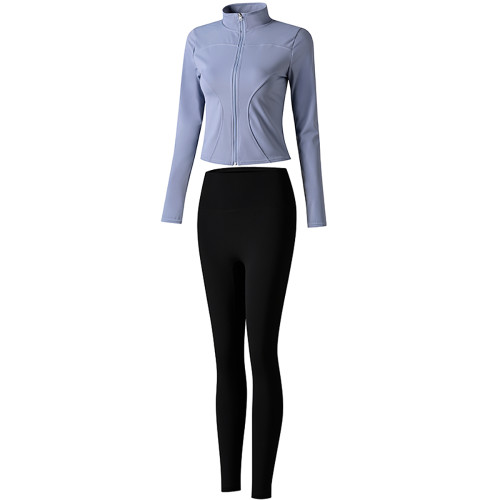 Blue Long Sleeve Yoga Coat with Black Pant TQE00094-116-2