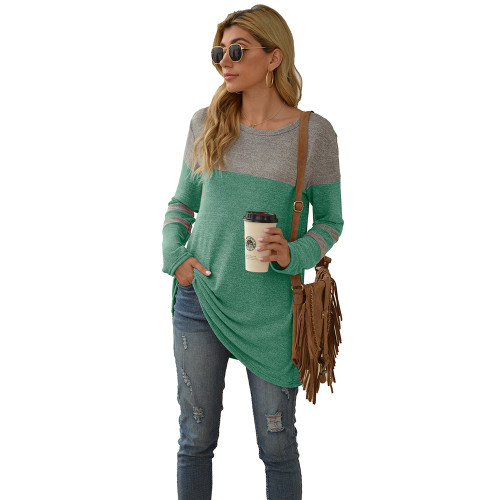 Green Colorblock Round Neck Long Sleeve Tops TQK210594-9