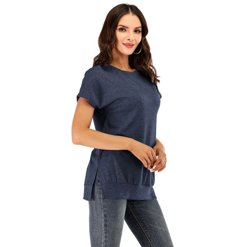 Navy Blue Drop Shoulder Side Slit Short Sleeve Tees TQK210595-34