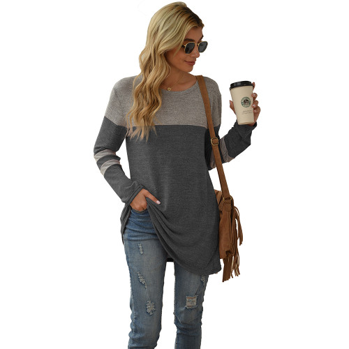 Dark Gray Colorblock Round Neck Long Sleeve Tops TQK210594-26
