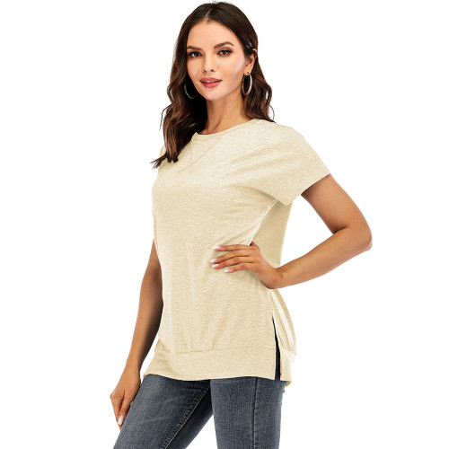 Khaki Drop Shoulder Side Slit Short Sleeve Tees TQK210595-21