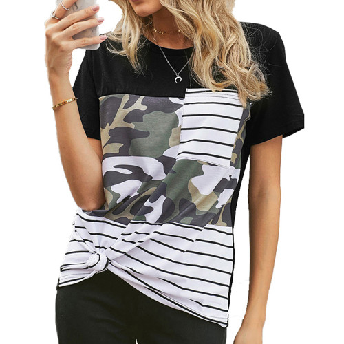 Camo Splice Striped Pocket T-Shirt TQK210601-27