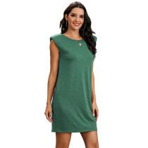 Green Sleeveless Pocketed Tank Dress TQK310467-9