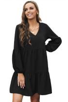 Black Ruffle V-Neck Flowy Loose Tunic Dress LC221175-2