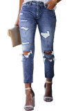 Blue Fading Distressed Holes Crop Jeans LC78064-5