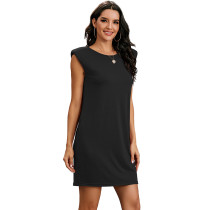 Black Sleeveless Pocketed Tank Dress TQK310467-2