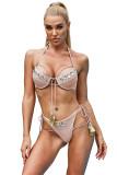 Apricot Rhinestone Tassel Bandage Bikini Set LC412245-18