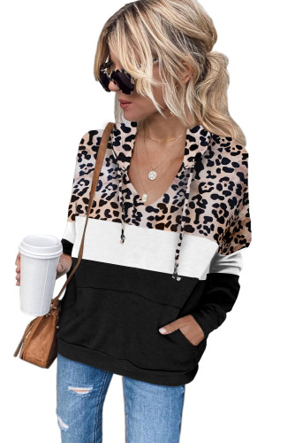 Black Leopard Splicing Kangaroo Pocket Drawstring Hoodie LC2534388-2